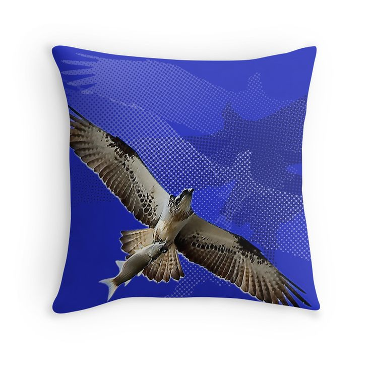 Bird of Prey with Fish, and half tone patterns. Blue accent, with nature theme, freedom, and survival!