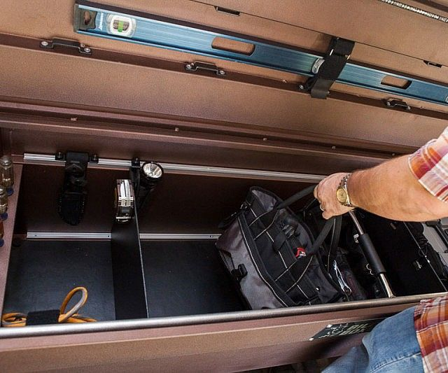 Modular Truck Bed Box /  Keep all your equipment safely organized as you drive around from job to job with the modular truck bed box. This completely customizable bed box is designed with functionality in mind – featuring adjustable dividers, tool holders, LED lighting and a security system.