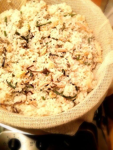 クララちゃんの母上に聞いてもらって、初 山菜おこわです!! 母上、作りました‼ ありがとうございます - 134件のもぐもぐ - 今日の夕飯 蒸篭② クララちゃんの母上直伝⁇ 山菜おこわ by gurimoco