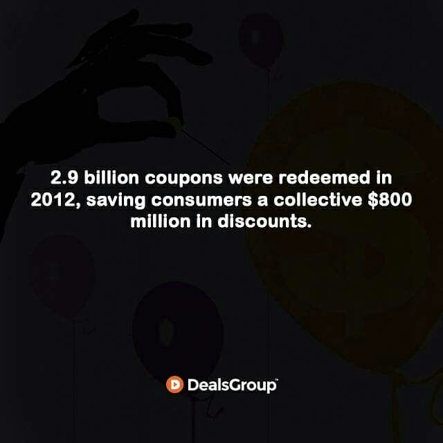 2.9 billion coupons were redeemed in 2012, saving consumers a collective $800 million in discounts. #HistoryofCoupons #StatisticsofCoupons