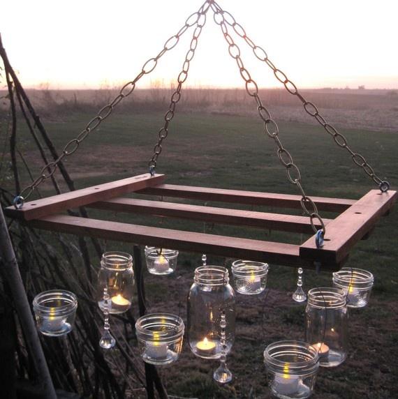 buy jewelry online Mason Jar Chandelier Candles Lanterns Luminaries by treasureagain