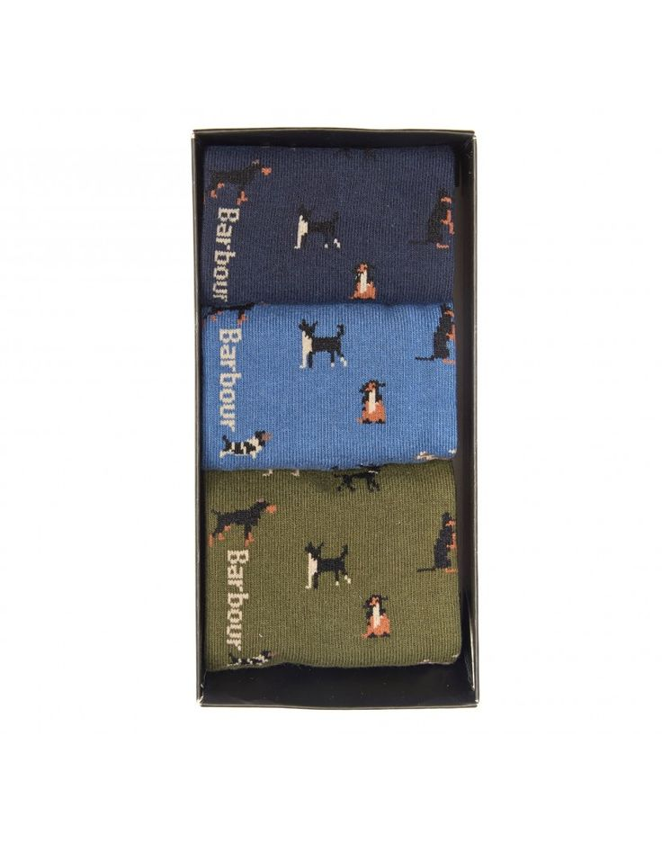 Quirky three pack of dog socks from Barbour Men. Autumn Winter 2017.