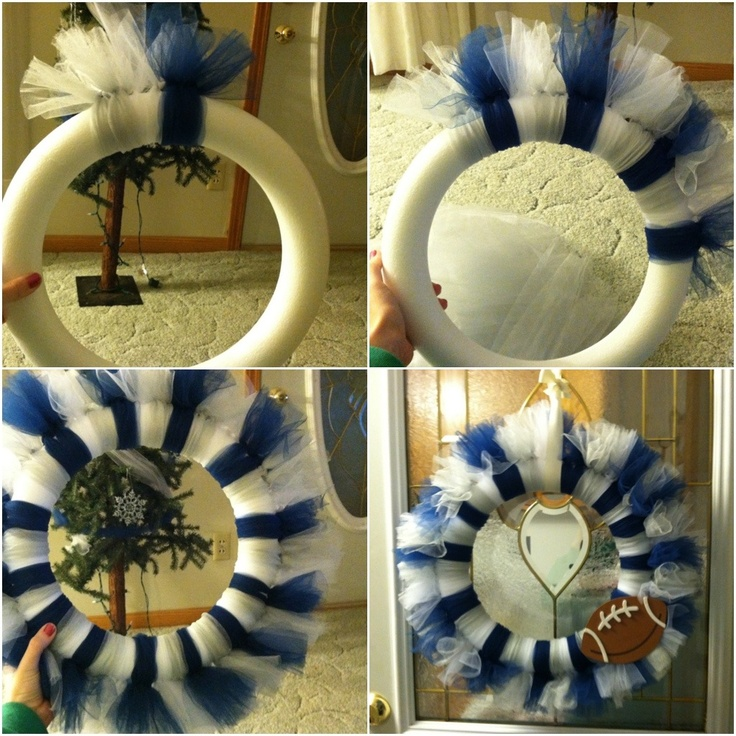 Dallas cowboys tulle wreath - blue and white or do any other colors for sport teams