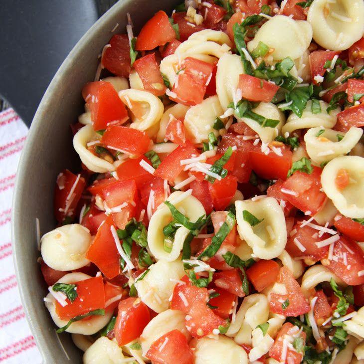 Bruschetta Pasta Salad Recipe Salads with pasta, tomatoes, green onions, purple onion, garlic, basil, olive oil, balsamic vinegar, shredded parmesan cheese, ground pepper, salt