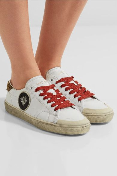 Saint Laurent - Court Classic Suede-trimmed Appliquéd Distressed Leather Sneakers - White - IT