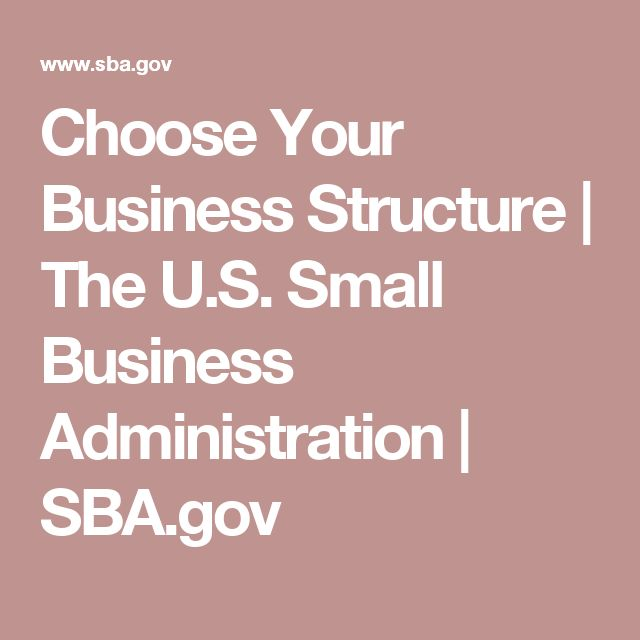 Choose Your Business Structure | The U.S. Small Business Administration | SBA.gov
