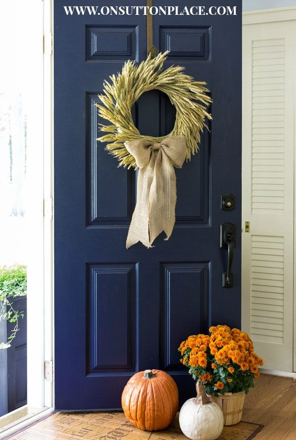 DIY Fall Wheat Wreath | A Tutorial from On Sutton Place.  This is the wreath i…