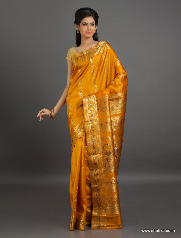 Depicting the eternal and sacred characters from mythology, Radha Ramini #BaluchariSilkSaree is not just a saree, it's a fragment from our great epic brought alive on a piece of #cloth.