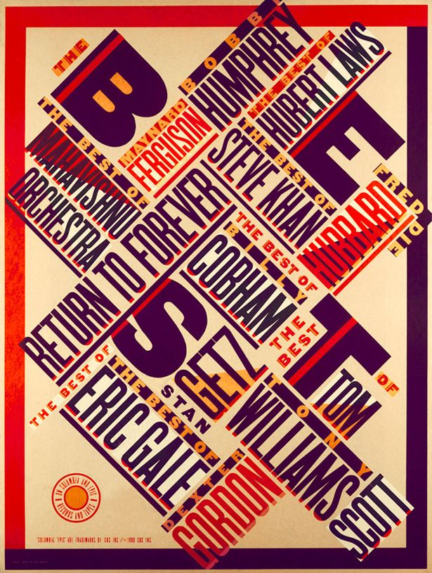 "The Best of Jazz (1979), a typographical masterpiece by Paula Scher, was done when she was discovering Aleksander Rodchenko and El Lissitsky. She recalls her work being acclaimed as ""new wave"" and ""postmodern"" when in fact it was a private homage to the pioneers of the Russian avant garde."