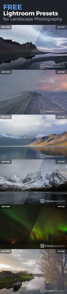 A collection of *FREE* Lightroom Presets for Landscape and Travel Photography by @presetbase - ideal for photos taken in Iceland, Norway, Finland, Canada or Greenland.