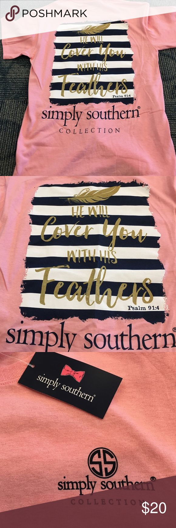 New Simply southern tee shirt for women Women's tee with psalm 9 1:4 on the back.  Brand new! Simply southern  Tops Tees - Short Sleeve