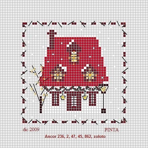 Cross-stitch Cottage Biscornu.... no color chart, just use pattern chart colors as your guide.. or choose your own colors...   Gallery.ru / Фото #32 - 3 - lutarcik