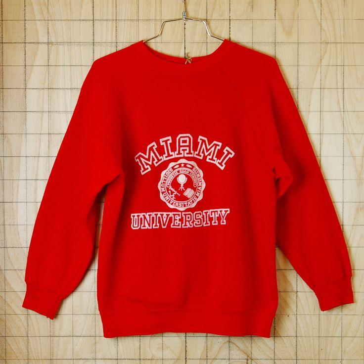 【ビンテージ】アメリカ古着MAIAMI UNIVERSITY(マイアミ大学)レッド(赤)プリントカレッジスウェット・トレーナー