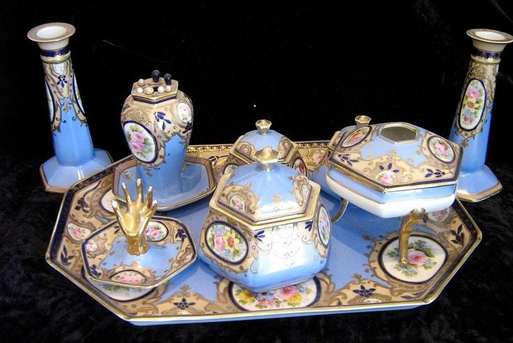 Rare and lovely antique Noritake porcelain nine-piece dresser set