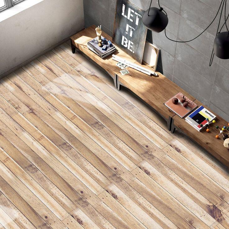 Autocollant de plancher en vinyle pour grain en bois - BROWN