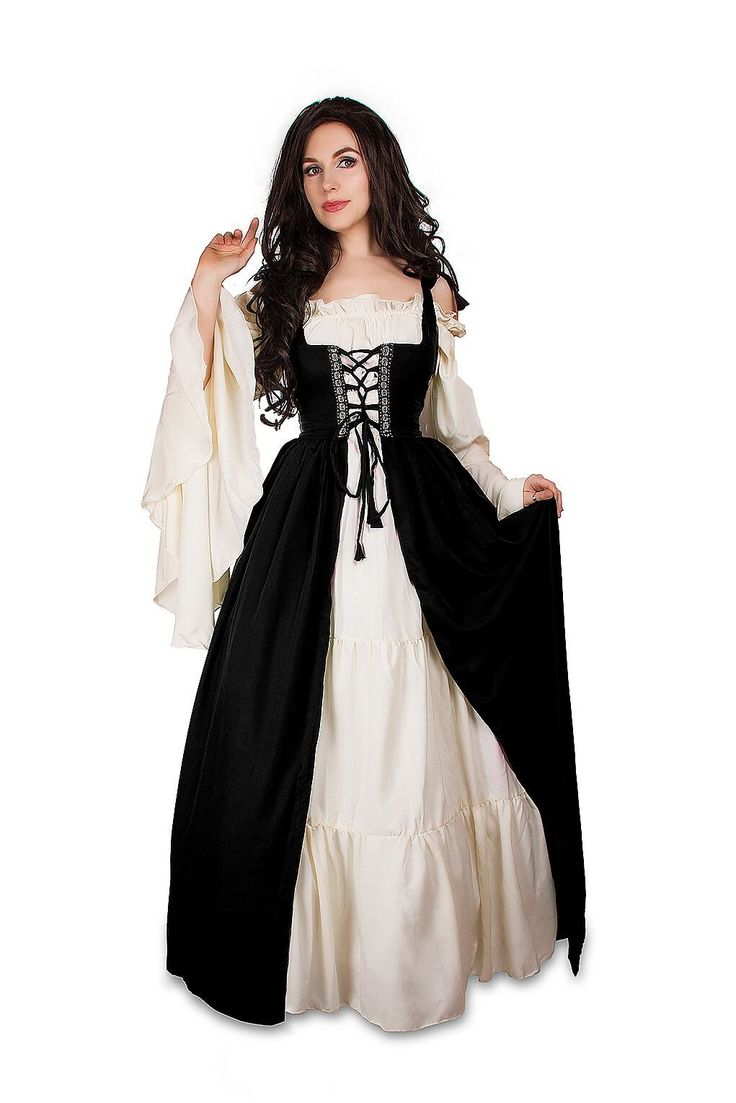 [I think you could make a really cool wedding gown using this style and some creativity in fabric choices.]  Renaissance Medieval Irish Costume Over Dress & Cream Chemise Set