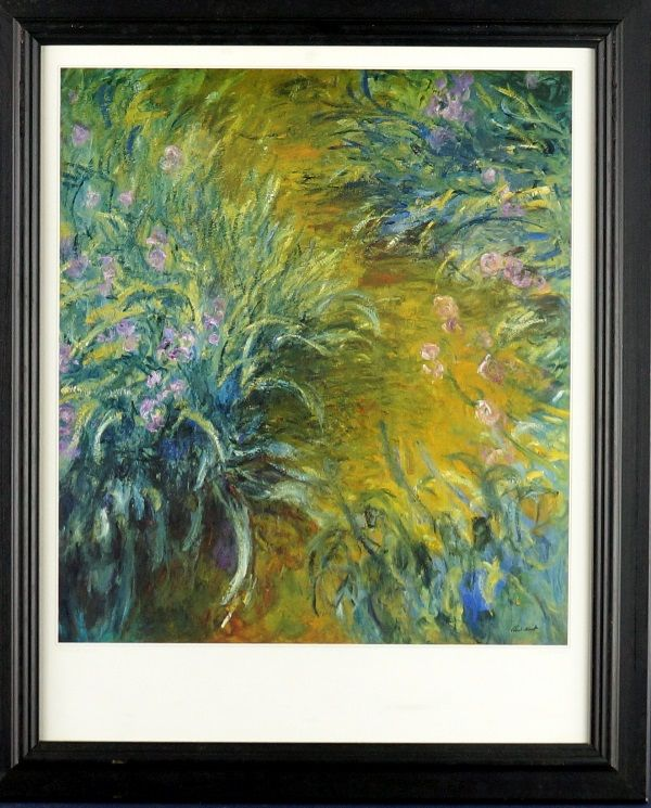 CLAUDE MONET (1840 - 1926)  Decorative Print Title: Irises in the Garden Size: 40cm x 35cm Frame Size: 57cm x 47cm Artwork is Housed in a Black Timber Frame
