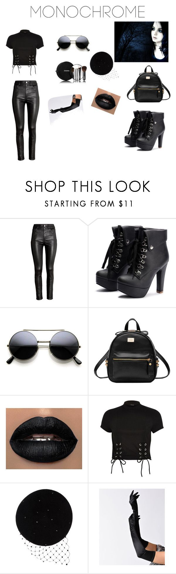 """""""gotik"""" by amra-memic ❤ liked on Polyvore featuring H&M, Chanel, River Island and Victoria Grant"""