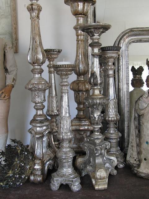 silver leaf candlesticks
