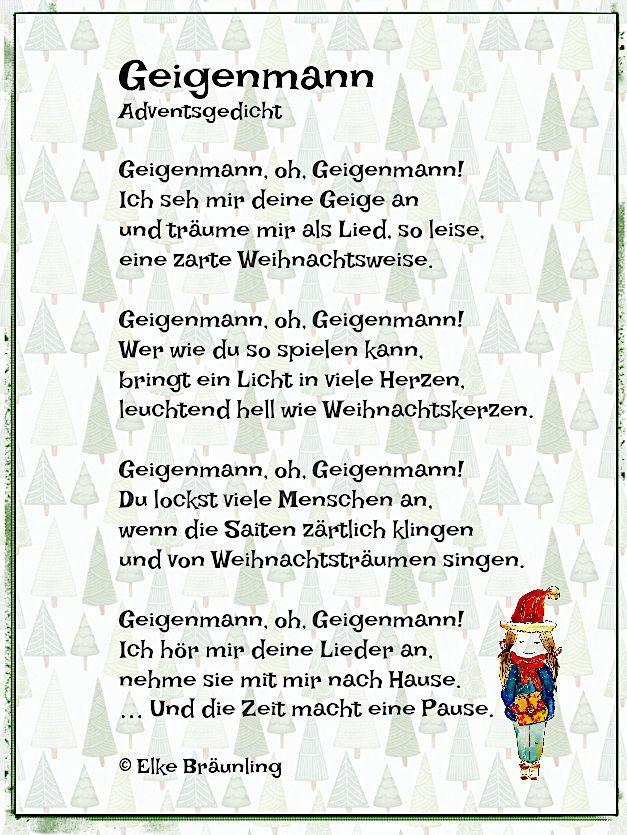 Geigenmann Geigenmann Oh Geigenmann Ich Seh Mir Deine Geige An Und Traume Mir Als Lied So Leise Ein Gedichte Zum Advent Weihnachtsgedichte Adventsgedichte