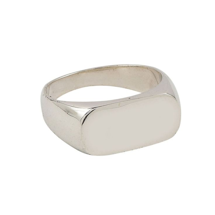 rounded rectangle signet ring in sterling silver .925