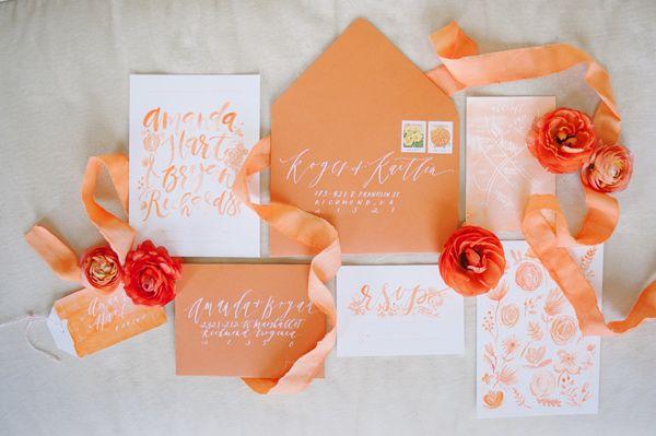 orange wedding invitations - photo by Sweet Root Village http://ruffledblog.com/orange-crush-wedding-ideas
