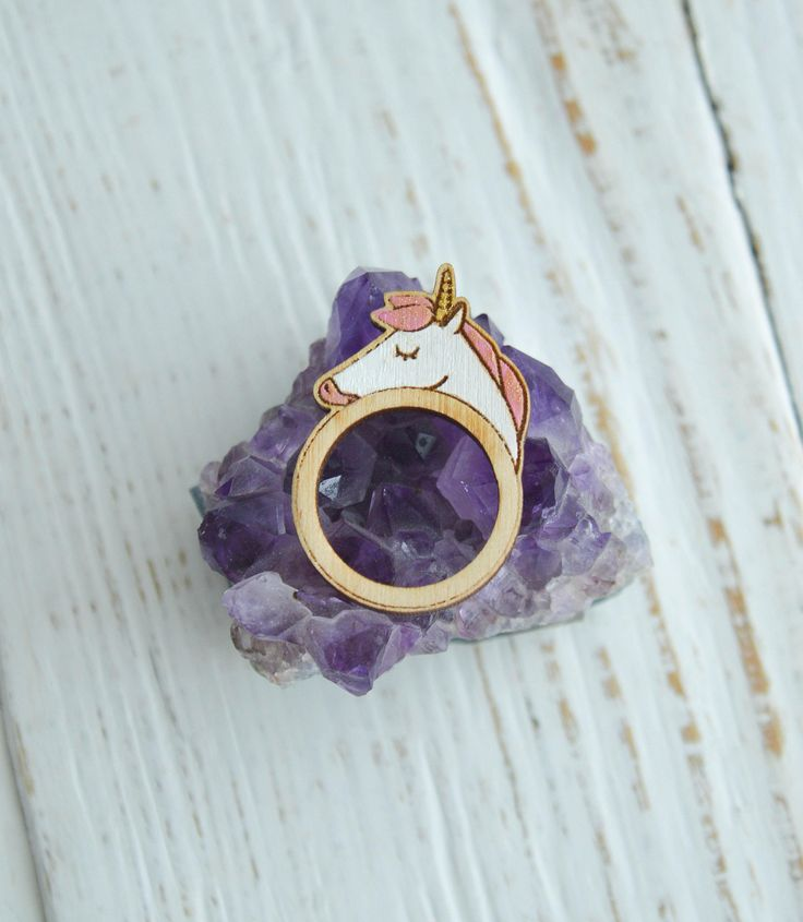 Wooden Ring, Cute Wooden Ring, Hand Painted, Laser Engraved Ring, Unicorn Ring by WaterFallWorkshop on Etsy
