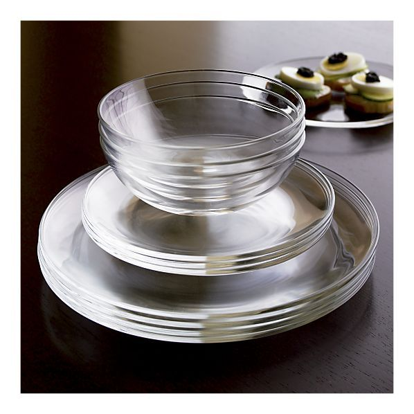 I want clear glass dinnerware tremendously bad! the best would be with a design etched in them too...