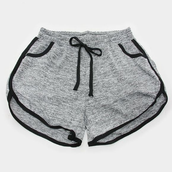 "Black Trim Drawstring Jogger Shorts...Color: Grey • Style No : 297762 • Color : Grey  • Size : 13"" W(Waist-Stretchable), 15"" L • Material : 55% Cotton / 35% Polyester / 10% Spandex • Black trim solid color drawstring jogger shorts Shorts"