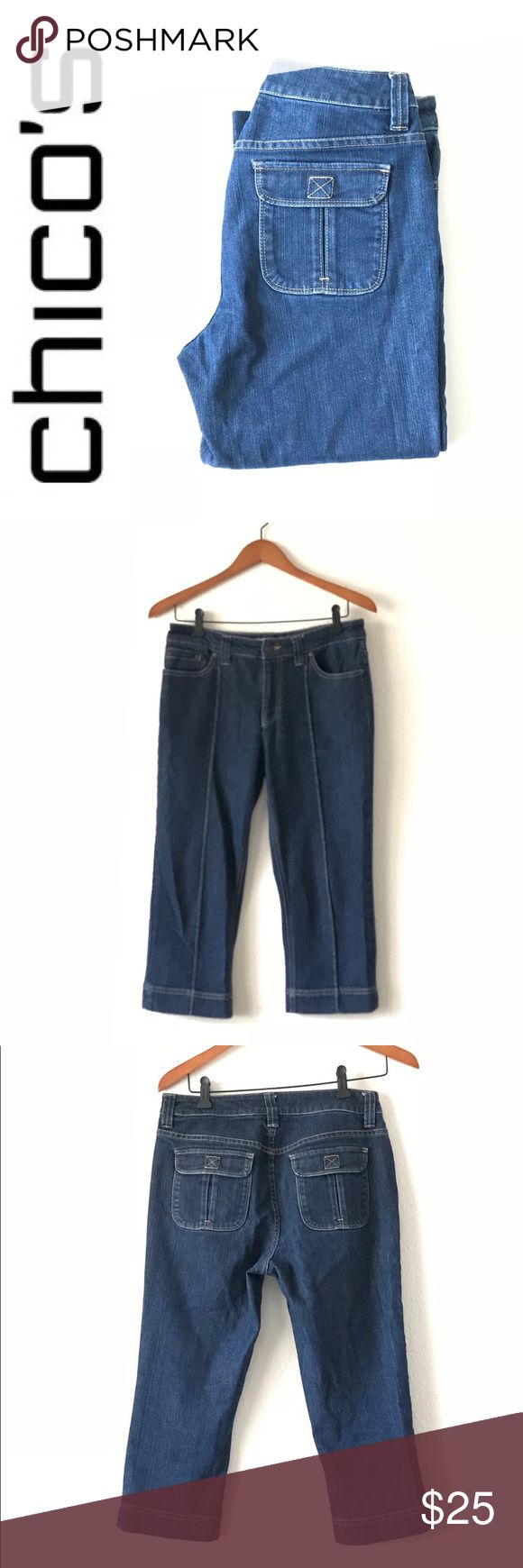 """Chico's Platinum Womens Crop Jeans Capri Indigo Chico'sPlatinumWomen's Crop Jeans In Capri Indigo Size 5 in excellent condition • Zip & button closure. • 5-pocket styling. • Back flap pockets. • Slightly tapered leg. • Regular inseam: 20"""". • Cotton, polyester & elastane. Approximately measurements last pic Chico's Jeans Ankle & Cropped"""