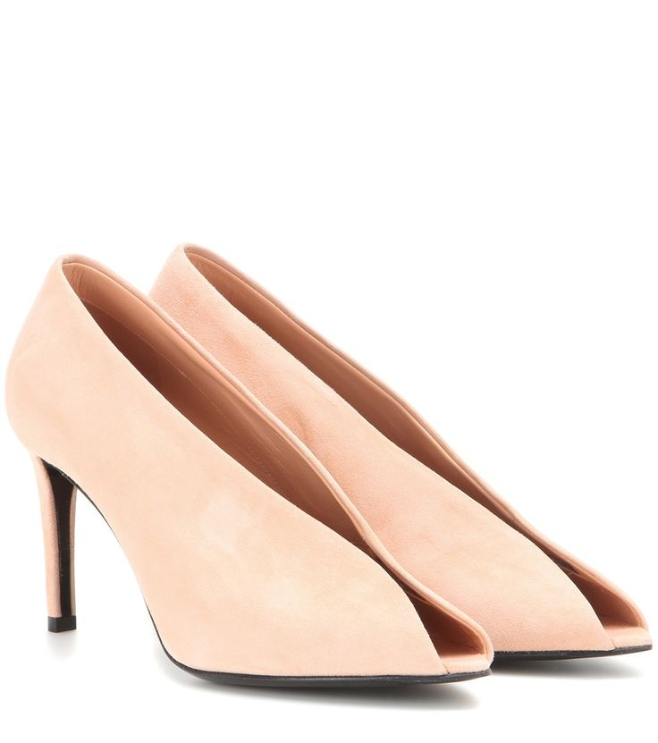 Lachsfarbene Open-Toe-Pumps aus Veloursleder By Balenciaga