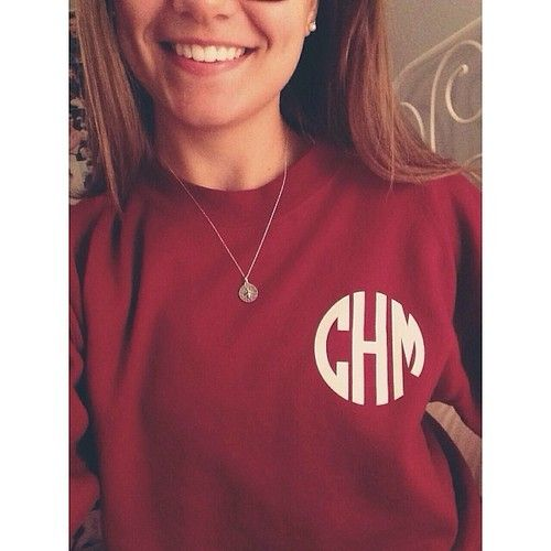 Monogram Crewneck; maroon and white for me
