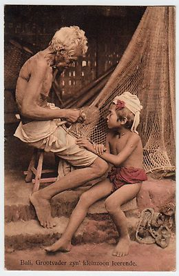 Bali - Mending Fishing Nets 1914