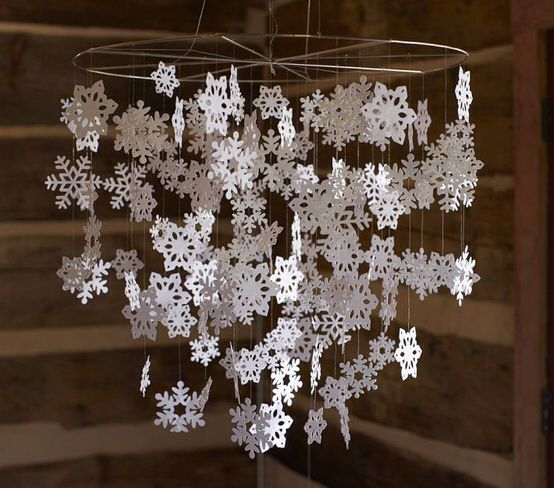 Easy DIY snowflake chandelier idea for a winter baby's first birthday. Substitute half with baby blue snowflakes for baby boys winter birthday!