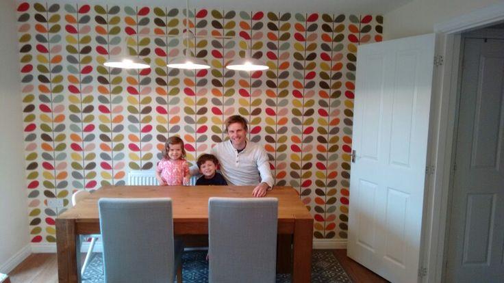 Orla Kiely multistem wallpaper in our kitchen/diner