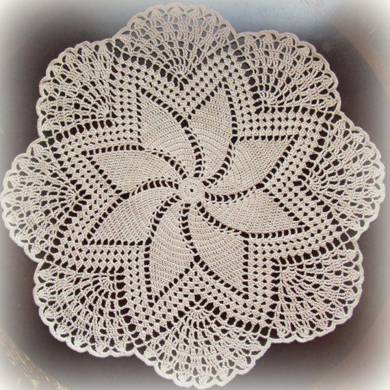 EcruNatural Crochet Doily--Pineapples and Points--16