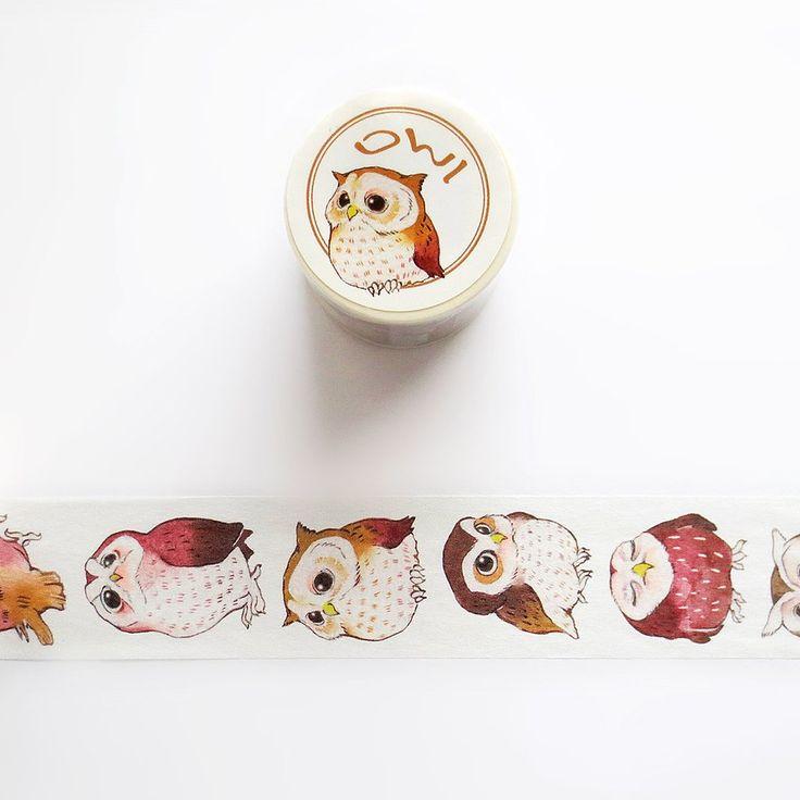 Owl Washi Tape, Cute Snowy Owl, Barn Owl, Horned Owl Washi Roll, Deco Tape, Masking Tape