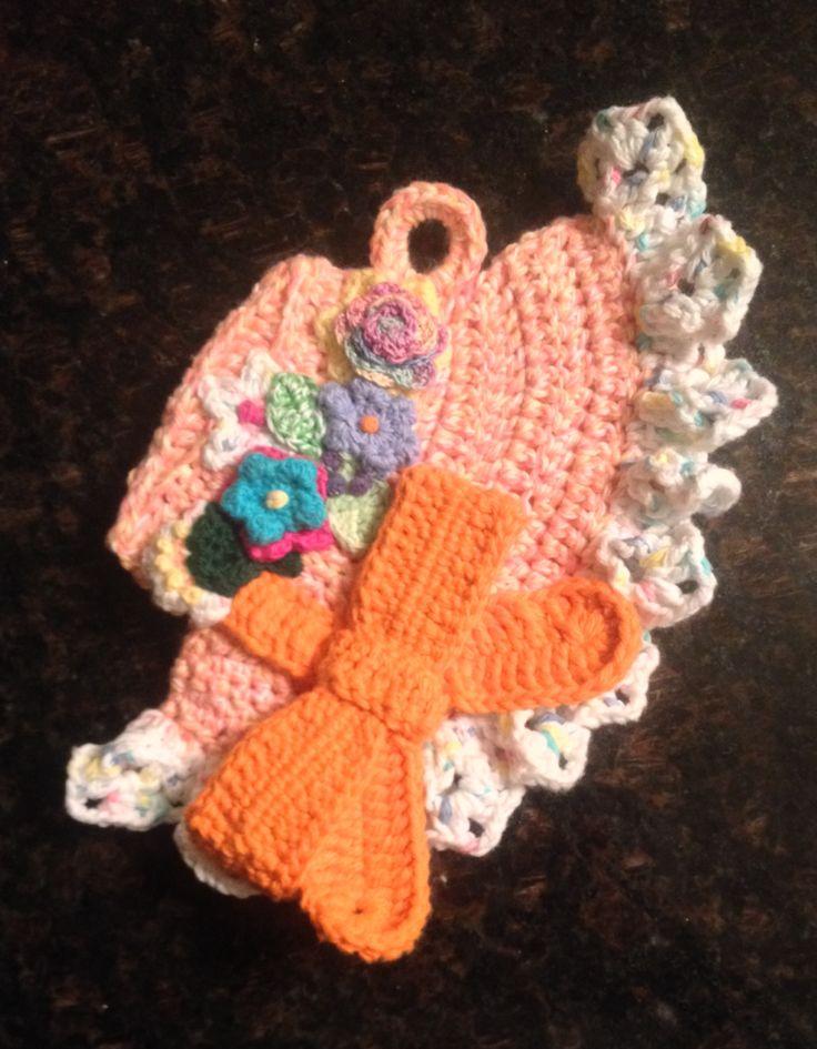 Free Crochet Pattern For Easter Bonnet : Crochet Easter bonnet potholder Vintage Linens Pinterest