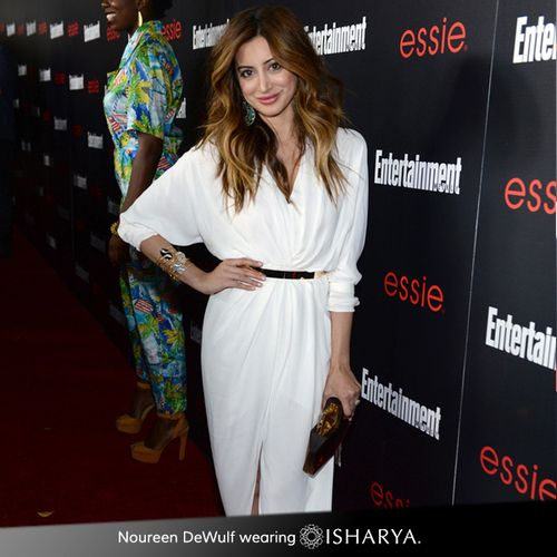 Noureen DeWulf wearing Neutral Statement Serpent Druzy Wire Cuff by Isharya to the Screen Actor's Guild (SAG) Party