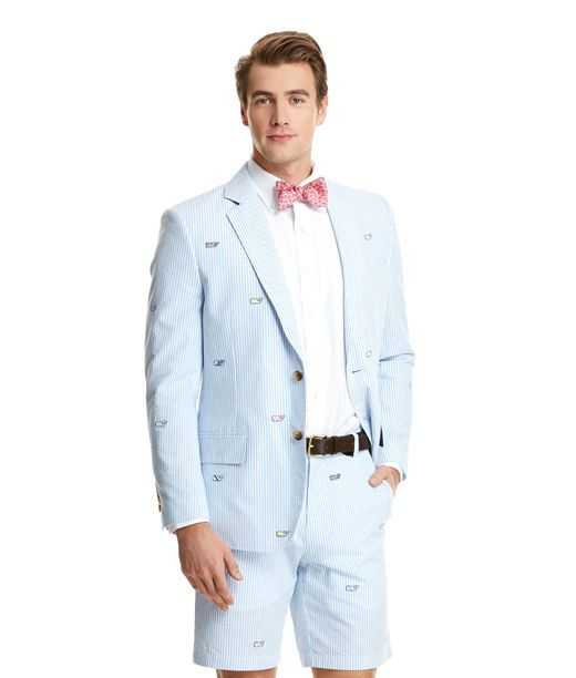 """Every Man Should LookThis Good at the Races! Our Kentucky Derby Men's Sport Coat Brings Together Classic Seersucker and the Vineyard Vines Spirit to Guarantee You Have a Whale of a Time. This Outfit Also Sports a """"Support Pink"""" Bowtie Which Benefits Breast Cancer. Vineyard Vines Has a Nice Sampling of Goods That Fall Under That Guise."""