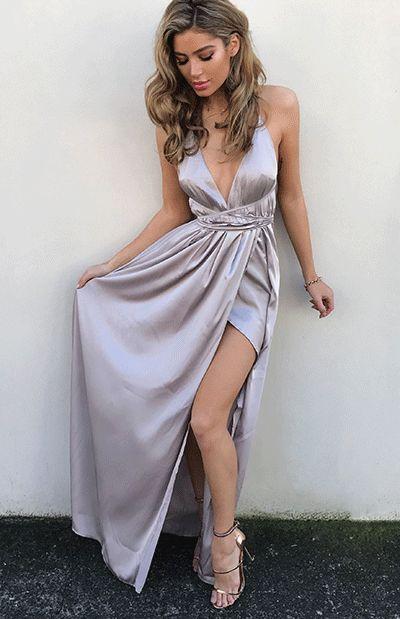 sexy silver prom dresses, prom dresses silver, prom dresses split side, long prom dresses sexy, long prom dresses, cut low, deep v prom