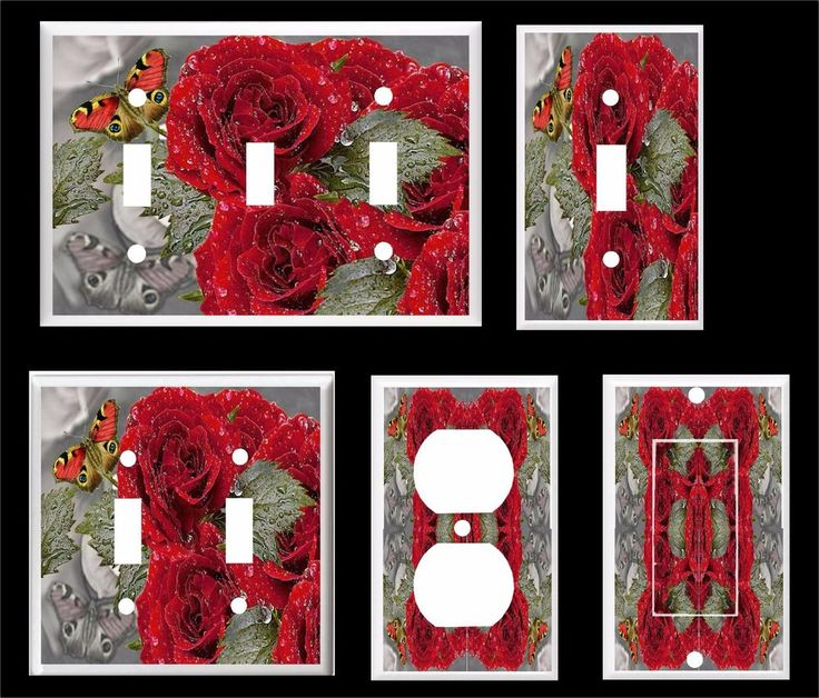 RED ROSES BUTTERFLY PLASTIC LIGHT SWITCH COVER PLATE          #Leviton