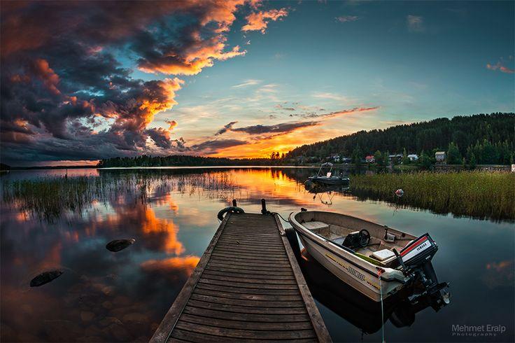 Sunset after rain storm. Jyvaskyla - Finland