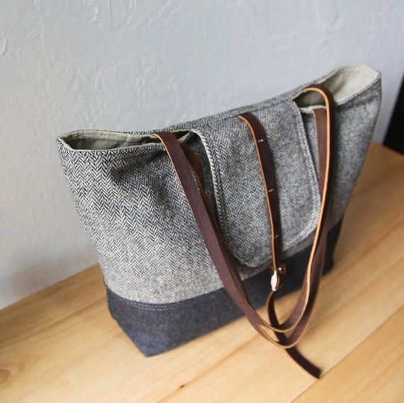 big wool tote with flap