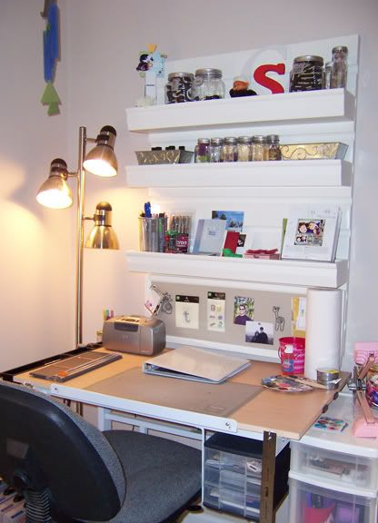 Small Space Organization Craft Desk  Scrapbooking