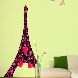 Ερωτας στον πύργο του Αιφελ Μαύρο, Αυτοκόλλητο τοίχου,19,90 €,http://www.stickit.gr/index.php?id_product=775&controller=product