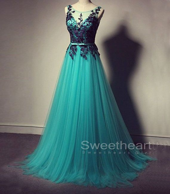 Green tulle lace long prom dress 2016 for teens, modest prom dress, unique bridesmaid dress, plus size long formal party dress #coniefox #2016prom
