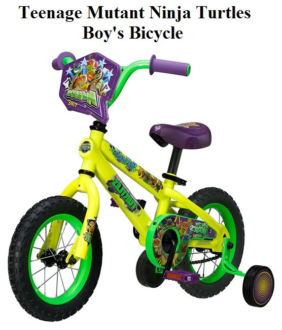 Check Teenage Mutant Ninja Turtles Boy's Bicycle in 12 and 16 inches with realistic Turtle graphics, heavy duty training wheels, black solid pedals and front shield.