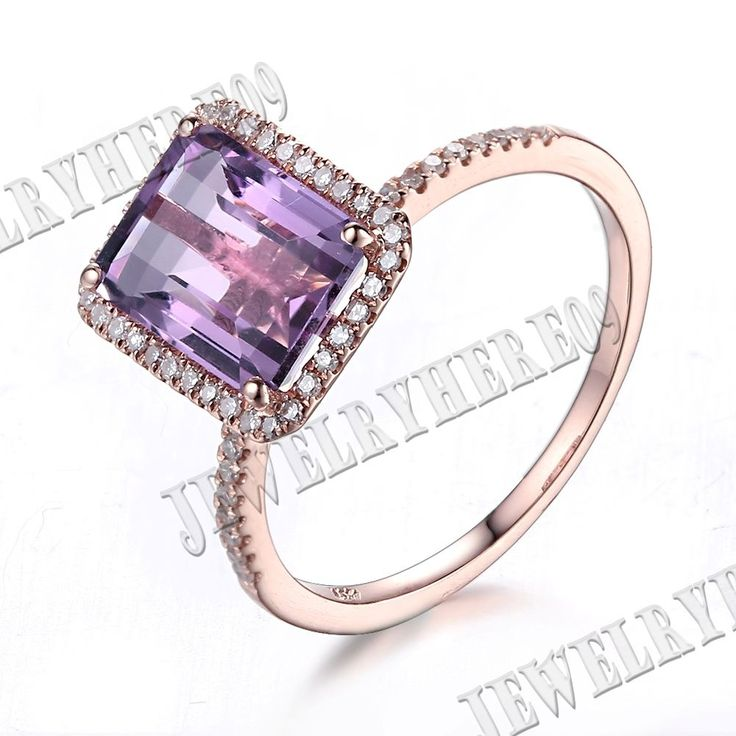 14k Rose Gold Emerald 9x7mm Purple Amethyst Pave Diamond Engagement Wedding Ring | Jewelry & Watches, Fine Jewelry, Fine Rings | eBay!