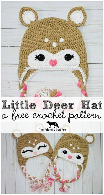 Free Crochet Little Deer Hat Pattern- Toddler, Child and Adult size!